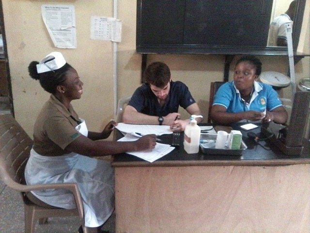 Review Volunteer Joe O'Brien in Kasoa Ghana at the EMT clinic program (MiddleBurry College)